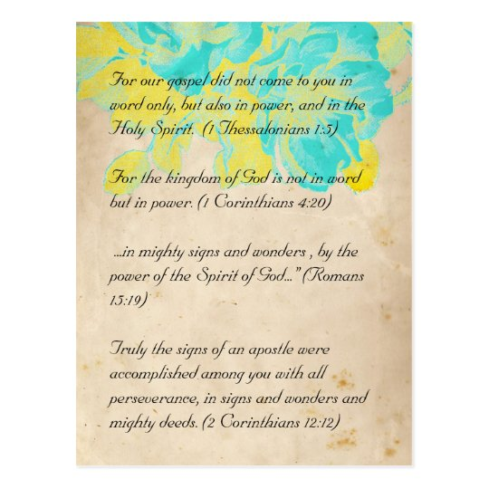 Bible passage, grunge flowers postcard 2