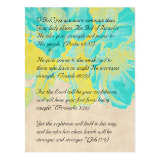 Bible passage, grunge flowers postcard 2