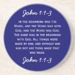 Bible Passage John 1:1-3 in white text. Drink Coasters