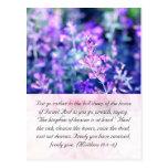 Bible passage, lavender postcard