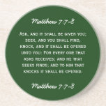 Bible passage Matthew 7:7-8 in white text. Beverage Coasters