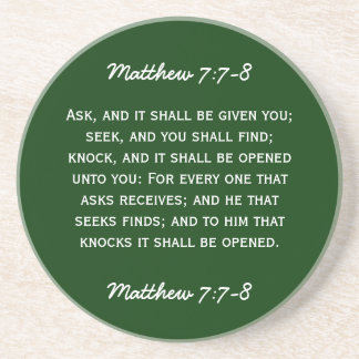 Bible passage Matthew 7:7-8 in white text. Coasters