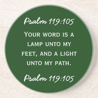 Bible passage Psalm 119:105 in white text. Coaster