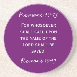 Bible passage Romans 10:13 in white text Sandstone Coaster