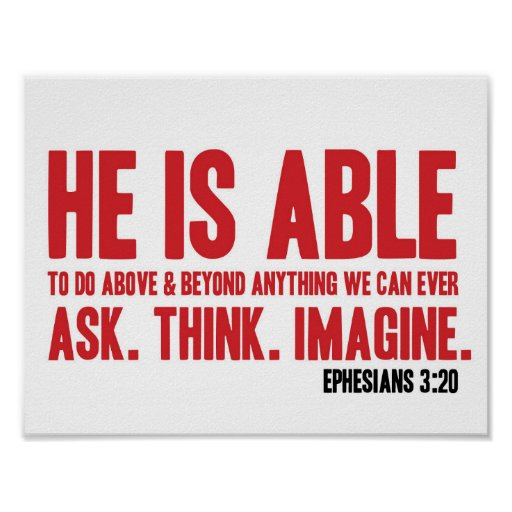 Bible Poster Ephesians 3 20 He Is Able Christian Zazzle