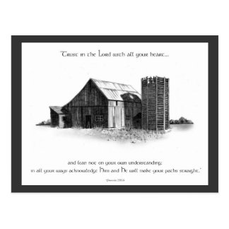 BIBLE: PROVERBS: OLD BARN, PENCIL DRAWING POSTCARD