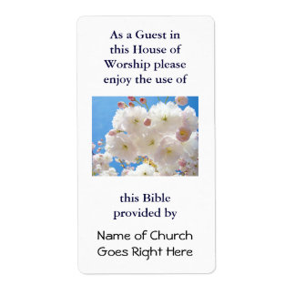 Bible provided by Name of Church Book Tags Floral Label