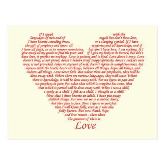 Bible Quote 1 Corinthians 13 Love Heart Art Design Postcard
