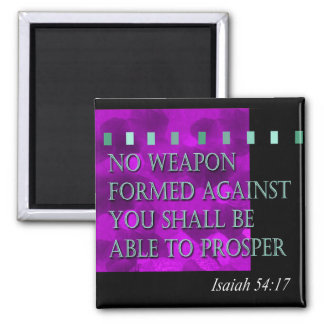 """Bible Quote - Isaiah 54:17"" by Cheryl Daniels 2 Inch Square Magnet"