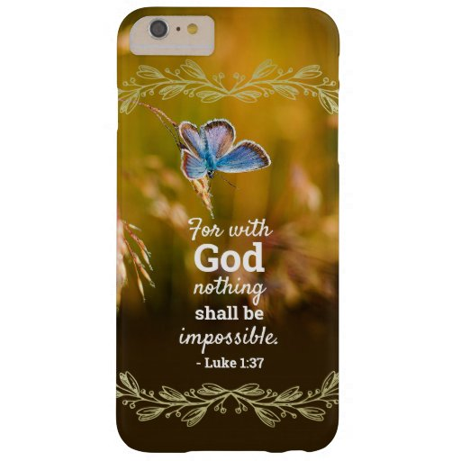 Bible Quote Luke 1:37 Butterfly in Field Barely There iPhone 6 Plus Case
