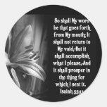 BIBLE SCRIPTURE ISAIAH 55:11 CLASSIC ROUND STICKER