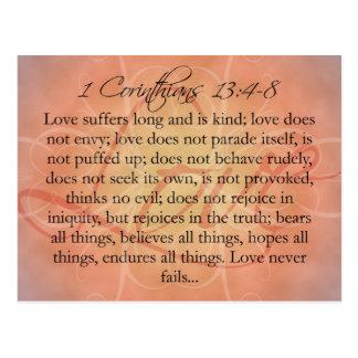 Bible Scripture Love Script on Orange Vintage Postcard