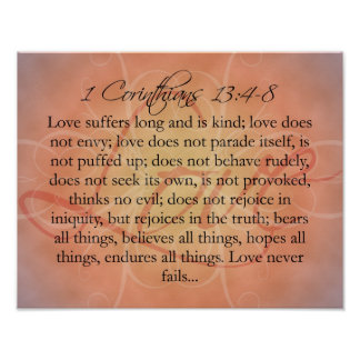Bible Scripture Love Script on Orange Vintage Posters