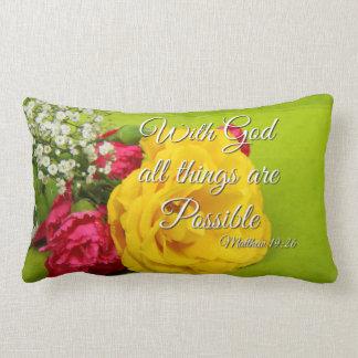 Bible Scripture Pink Yellow Roses Matthew 19:26 Lumbar Pillow