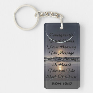 BIBLE SCRIPTURE SINGLE SIDED REGTANGLE KEYCHAIN