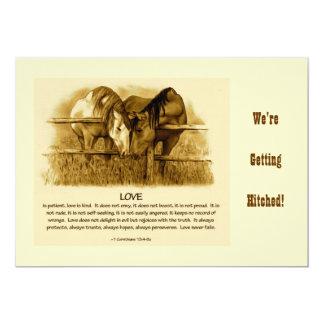 BIBLE TEXT, Western WEDDING INVITE: Horses, Pencil Card