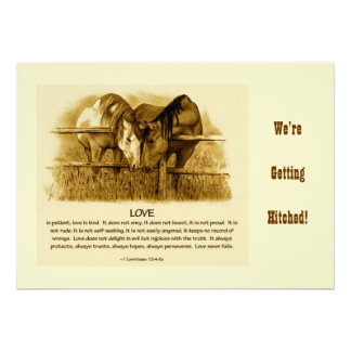 BIBLE TEXT, Western WEDDING INVITE: Horses, Pencil