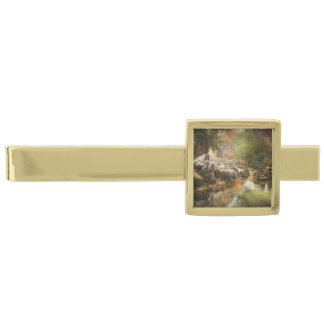 Bible - The Lord is my shepherd - 1910 Gold Finish Tie Clip