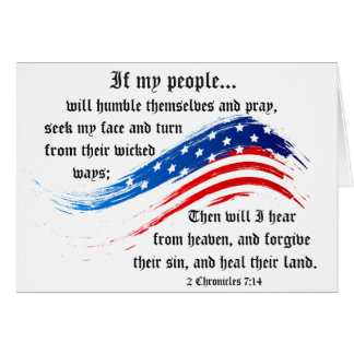 Bible Verse 2 Chronicles 7:14, USA Flag Card