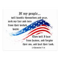 Bible Verse 2 Chronicles 7:14, USA Flag Postcard