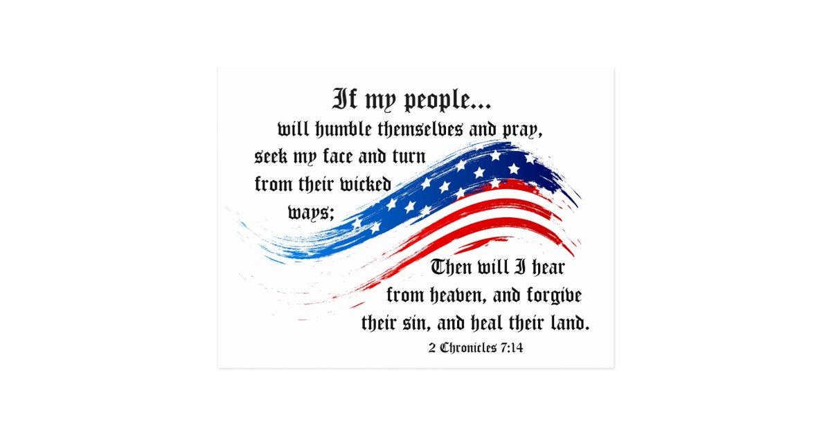 bible verse 2 chronicles 714 usa flag postcard zazzlecom