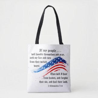 Bible Verse 2 Chronicles 7:14, USA Flag, Tote Bag