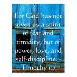 Bible Verse About Courage - Timothy 1:7 Postcard