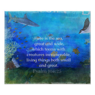 Bible Verse about the Sea with sea life art Poster