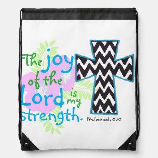Bible verse and cross Nehemiah 8:10 Drawstring Bag