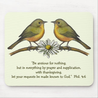 BIBLE VERSE, ANXIETY. Birds on Branch: ARTWORK Mouse Pad