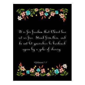 Bible Verse Art - Galatians 5:1 Postcards