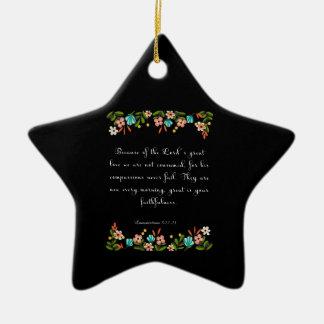 Bible Verse Art - Lamentation 3:22-23 Double-Sided Star Ceramic Christmas Ornament