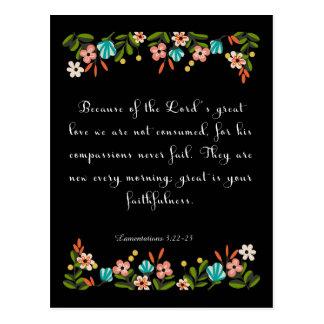 Bible Verse Art - Lamentation 3:22-23 Postcard