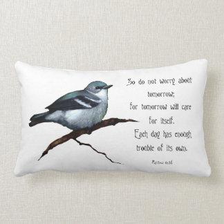 Bible Verse: Bird: Do Not Worry About Tomorrow Lumbar Pillow
