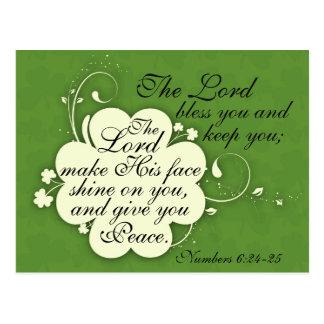 Bible Verse Blessing Irish Design Custom Postcard