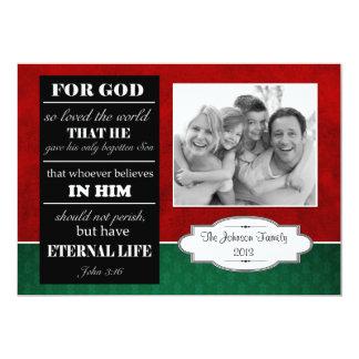 Bible Verse Christmas Card, John 3:16 with photo Card