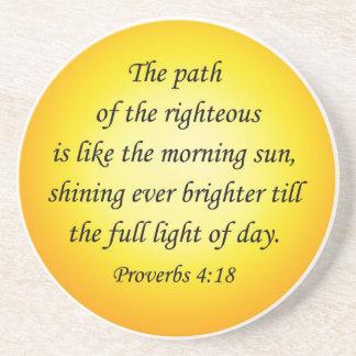 Bible verse coaster Proverbs 4 18 Round