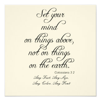 Bible Verse Col 3 2 Set Your Mind card Invitation