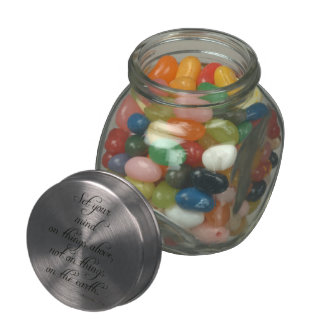 Bible Verse Col 3 2 Set Your Mind Kitchen dining Glass Candy Jar