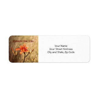 Bible Verse: Consider the Lilies Label