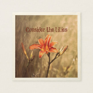 Bible Verse: Consider the Lilies Paper Napkin