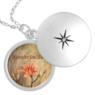 Bible Verse: Consider the Lilies Round Locket Necklace
