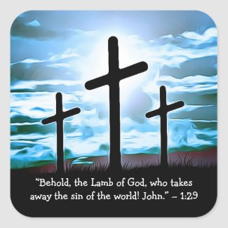 Bible Verse Crosses, Religious Christian Square Sticker
