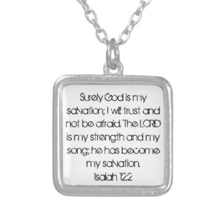 bible verse encouragement Isaiah 12:2 Silver Plated Necklace