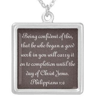 Bible verse encouragement Philippians 1:6 necklace