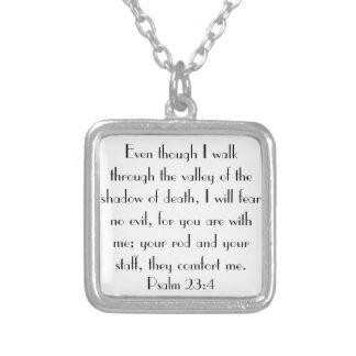 bible verse encouragement Psalm 23:4 Square Pendant Necklace