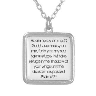bible verse encouragement Psalm 57:1 Square Pendant Necklace