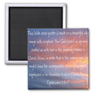 bible verse Ephesians 2:6-7 on a beautiful sky 2 Inch Square Magnet