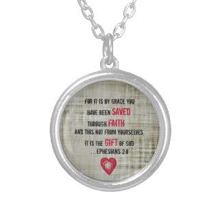 Bible Verse Ephesians 2:8 Round Pendant Necklace