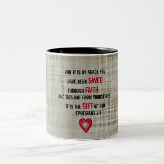 Bible Verse Ephesians 2:8 Two-Tone Coffee Mug